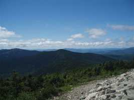 Spaulding Mountain (center) looking west from the summit of Sugarloaf Mountain.