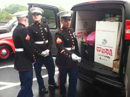 The U.S. Marines were on hand to collect the toys.