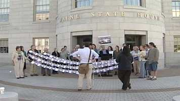 More than two-dozen people rallied at the State House in Augusta asking Gov. Paul LePage to take action against BPA.