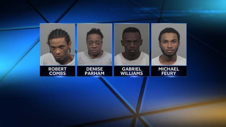 Michael Feury, Gabriel Williams, Denise Parham and Robert Combs are facing drug charges.