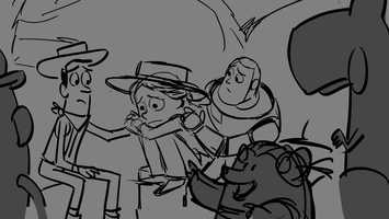 """This storyboard was drawn by """"Toy Story of TERROR!"""" story artist Matthew Luhn and is from the sequence """"Sleep Well Motel."""" Storyboards are drawn by story artists for the purpose of pre-visualizing the film. They are placed side by side in sequence, so that they deliver a rough sense of how the story unfolds. This storyboard is one of approximately 27,171 that were drawn for the film. Disney/Pixar's first special for television, """"Toy Story OF TERROR!,"""" a spooky new tale featuring all of your favorite characters from the """"Toy Story"""" films."""