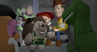 """Once the story is locked, the environments conceived and characters built, the scene is created in the computer. This frame shows the phase known as Layout, in which a virtual camera is placed into a shot. The characters and set are """"staged"""" or placed into positions that work visually within the chosen camera angle. Layout precedes character animation. Sets are simplified during this phase, but are seen fully built in the next stage of production. Disney/Pixar's first special for television, """"Toy Story OF TERROR!,"""" a spooky new tale featuring all of your favorite characters from the """"Toy Story"""" films."""