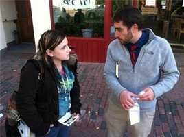 David Boyer from the Marijuana Policy Project talks to a Portland voter.