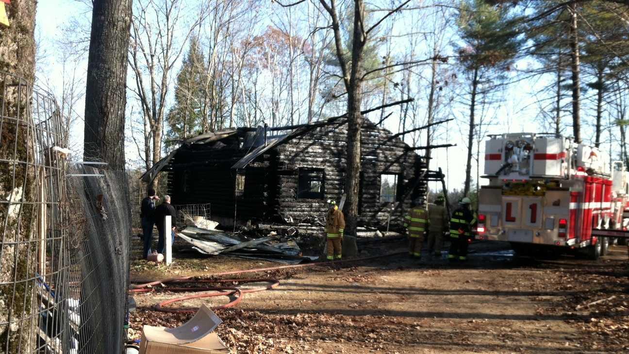 Bridgton log cabin fire