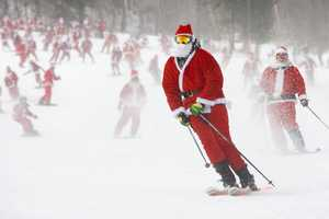 The event raises money for the local rotary club, by having each of the Santas donate at least $10 to participate.