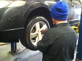 People were looking to get snow tires put on their vehicles.