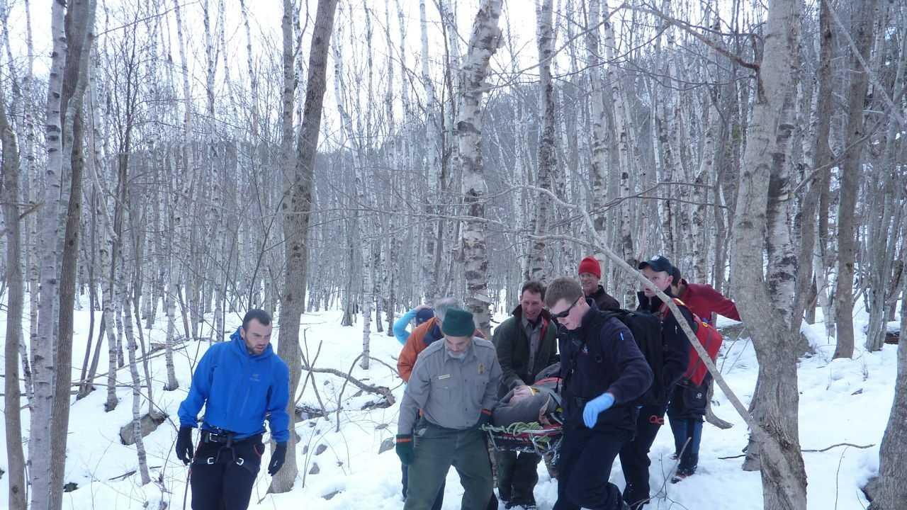 Acadia ice climber rescue