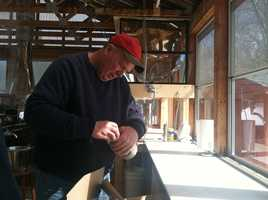 Rick Chase, who owns Chase Farm in Wells, said this is the first time they've opened up the farm for the weekend, but this cold weather has made producing syrup a very slow process.