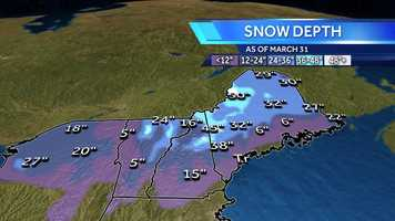 This is a look at the snow depth as of March 31.