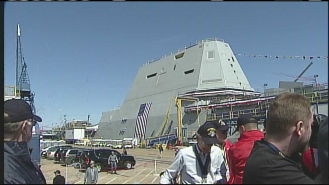 img-USS Zumwalt christened at Bath Iron Works