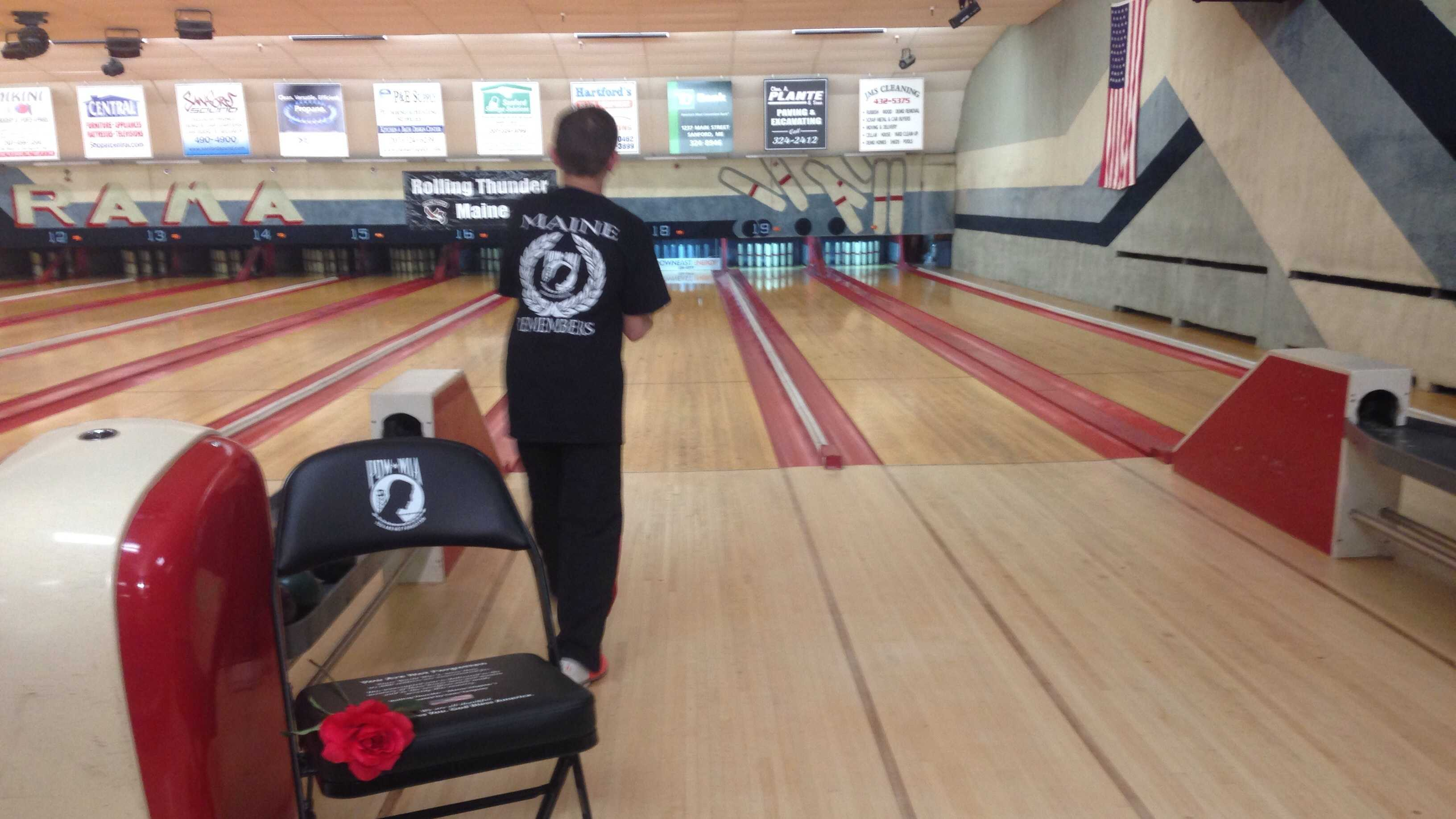A junior member of Rolling Thunder of Maine lines up his shot during the Rolling Thunder Bowl-A-Thon Saturday.
