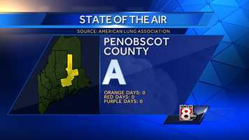 """Penobscot County received an """"A""""grade with no orange days, no red days and no purple days."""