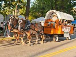The Festival's mile-and-a-half, hour-long parade has over 130 floats, marching bands, antique cars, and unique entertainers from all over Maine and New England. The parade draws thousands of spectators that line the entire length of Main Street.
