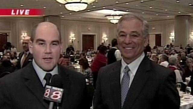 News 8's Travis Lee Caught Up with Red Sox Manager Bobby Valentine At A Children's Cancer Chariry Event In South Portland