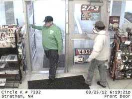 Seabrook & Stratham Thefts ((Press Release)) The Seabrook Police Department and the Stratham Police Departmentare seeking to identify two suspects that have been breaking into vehicles using force and stealing pocketbooks. The suspects thenused the ATM cards and credit cards at several area locations. Attached to this email are pictures depicting the suspect(s). The vehicle is believed to be an older Chevrolet Lumina color green and is missing the two passenger side hubcaps. If you recognize the suspects or the vehicle please contact either the Seabrook or Stratham Police Department at: Seabrook Police 603-474-5200 Stratham Police 603-778-9691. If you see the suspect's vehicle and are able to see the license plate,please forward that information as well.There is a reward offered in this case for the arrest or indictment of the suspect(s).If you have any information on any of these crimes or any other crime pleasecontact the Crimeline for the Hamptons at (603) 929-1222. You can also emailyour tips to: hamptonscrimeline@yahoo.com Your calls are anonymous andconfidential. Ca$h rewards if your call leads to an arrest or an indictment.