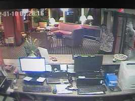 Lebanon Robbery ((Press Release)) On January 10, 2012 around 12:30am, the Lebanon Police Department responded to a reported robbery at the Baymont Inn in West Lebanon. It was reported by staff that the front desk clerk was robbed at knifepoint by two men who had their faces covered. The men made off with an undetermined amount of cash. Video surveillance captured images of the two suspects. The Lebanon Police Department is looking for assistance from the public in identifying these two suspects (see below). If anyone recognizes the two or the clothing they are wearing, please contact the Lebanon Police at (603)448-1212.