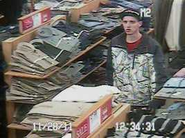 Rochester Theft ((Press Release)) Rochester Police are investigating a shoplifting case that occurred at Kohl's 160 Washington Street on Monday November 28, 2011 at about 1pm. Attached are two photos of the lone person of interest. The white male is believed to be late teens or early 20's, he was wearing a Red Sox baseball cap, red t-shirt, white sneakers and a jacket with dark sleeves, white front and back with dark lines throughout. We are seeking the public's assistance in identifying this person. Anyone with information about this case is asked to contact Officer Kimbrough at the Rochester Police Department at 330-7128 or if you want to remain anonymous, contact Rochester Crimeline at 335-6500 or Text: TEXT4CASH + tip To: CRIMES (247637).