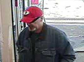 "Conway Robbery ((Press Release)) Conway Police investigators are releasing a photo of a ""person of interest"" in the investigation of the Rite Aid Pharmacy Robbery that occurred on Thanksgiving Day. A white male, about 40 to 55 years of age, grey mustache and goatee, was wearing a red ball cap, jean jacket, blue jeans, dark colored gloves, sunglasses and white sneakers. The suspect walked into the Rite Aid Pharmacy and gave the pharmacist a handwritten note demanding narcotics. The suspect then fled the store on foot. Any information regarding this incident should be directed to the Conway Police Department, 603-356-5715 or the Tip Line, at (603)356-5717"