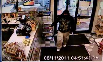 Laconia Robbery ((Press Release)) Laconia police is seeking help in identifying a man wanted for robbing the Belknap Gas and Convenience Store at 297 Union Avenue around 4:50pm on June 11, 2011.A man wearing a dark hooded sweatshirt with a blue bandanna covering his allegedly threatened a store employee with a knife. He then allegedly made off with an undisclosed amount of cash that was in the register. Anyone with any information regarding the incident or the suspect's whereabouts is urged to call the Laconia Police Department at 603-524-5252 or the Greater Laconia Crime Line at 603-524-1717.