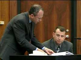 Rothstein, seen here talking with Officer Reardon, had argued that Addison had no intention of killing a police officer, and his actions amounted to the lesser crime of second-degree murder.