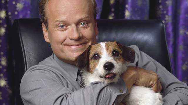 Kelsey Grammer and Eddie the dog from Frasier