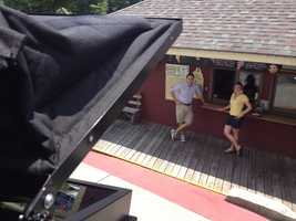 Chronicle's camera looks down at Erin and Sean while shooting.