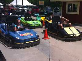 Riding go-karts on a hot day can get uncomfortable, but that didn't stop Erin and Sean from having some fun!