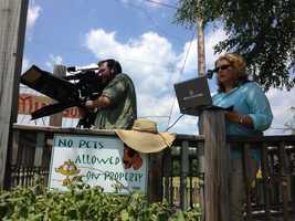 Paul Falco shoots a scene while Maryann Mroczka operates the prompter.