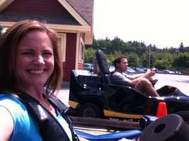 Erin and Sean get set to race go-karts.