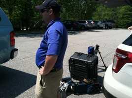 Photographer Chris Shepherd gets ready for the shoot.