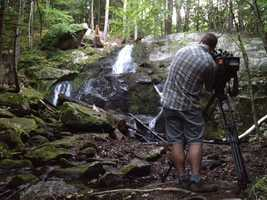 8:52 pm: Walker Smith gets video of the waterfall where a woman fell in Plymouth.
