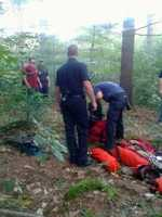 By 8 p.m., the skydiver and rescue climber were safely on the ground. No one suffered any injuries.
