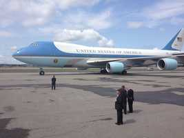 President Obama arrives in New Hampshire on Air Force One.