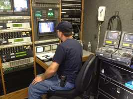 Here's the view of an afternoon run-through from inside one of 3 WMUR Satellite trucks stationed at St. Anselm College.