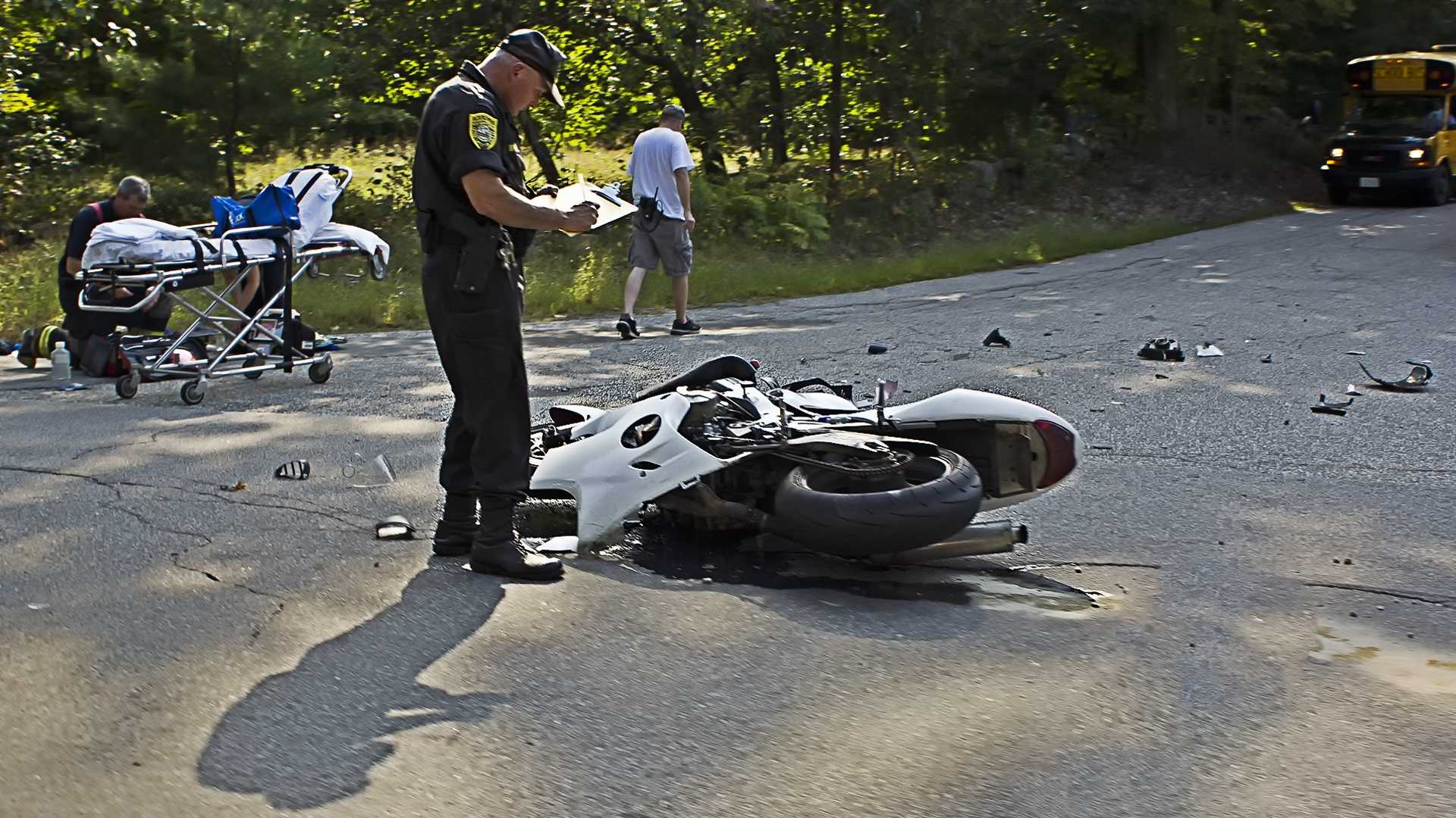 Motorcycle collides with school bus in Hampstead