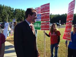 Gubernatorial candidate Kevin Smith (R) getting ready to vote.