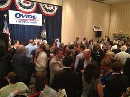 People packed into Ovide Lamontagne's headquarters before 8:30 p.m.