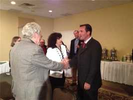 Kevin Smith arrived at his campaign headquarters around 9 p.m. and spoke to supporters soon after.