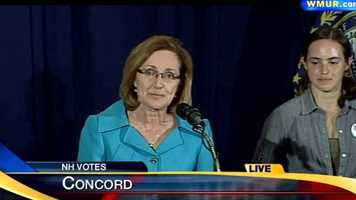 Ovide Lamontagne's wife, Bettie, introduced her husband in front of supporters in Concord.