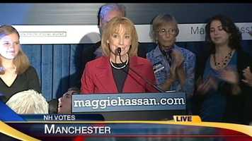 Maggie Hassan accepted her victory over Jackie Cilley in the Democratic primary election for governor around 10:10 p.m.