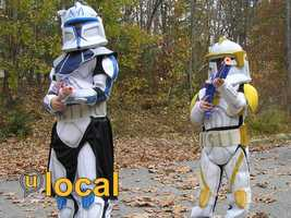Stormtroopers from the Star Wars film series.