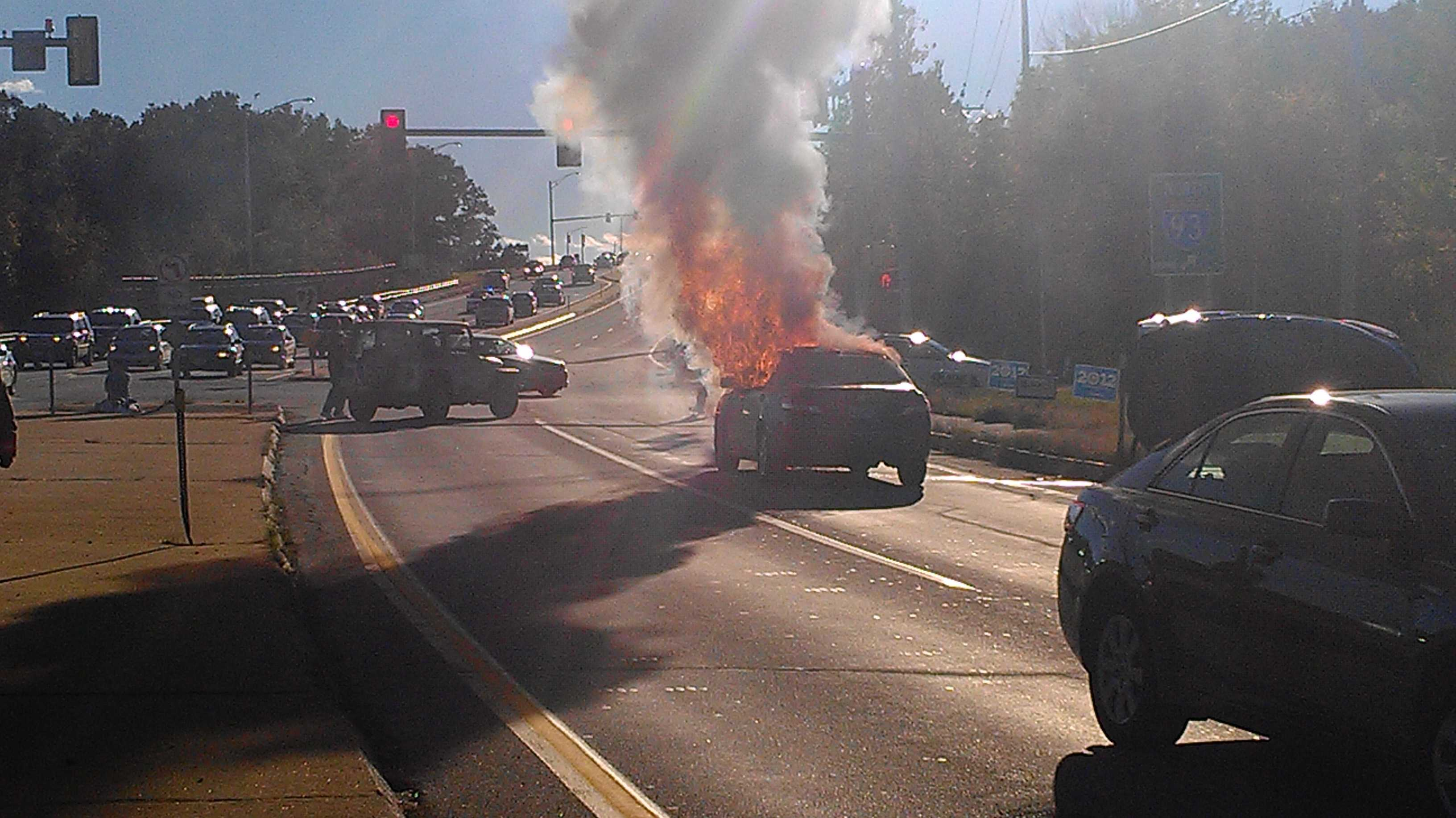 Car fire closes Route 102