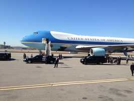 President Obama arrived on Air Force One shortly after 11 a.m. Thursday.