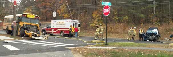 One person was killed in an accident involving a school bus and an SUV in Concord on Friday.