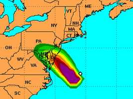 This map indicates the probability of hurricane-force winds from the storm. Green areas indicate a 5%-10% chance.