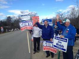 Republican congressional candidate Frank Guinta waving to supporters in Derry on Saturday.