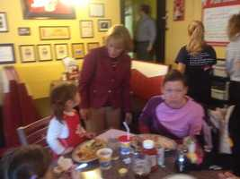 Maggie Hassan campaigning at the Red Arrow in Milford.