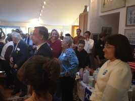 Democratic congressional candidate Annie Kuster campaigning with Howard Dean.