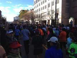 The beginning of the 2012 Manchester Marathon.
