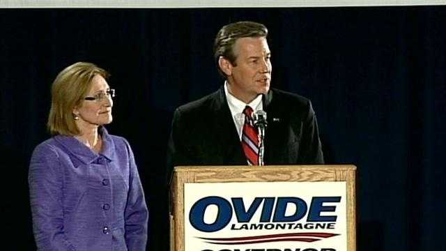 Ovide Lamontagne, seen here on Election Night, 2012, with his wife Bette, will not challenge U.S. Sen. Kelly Ayotte in a Republican primary in 2016, he told WMUR.com on Monday.